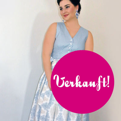 "Designer-Dirndl ""Sound of Dirndlherz in blau"""